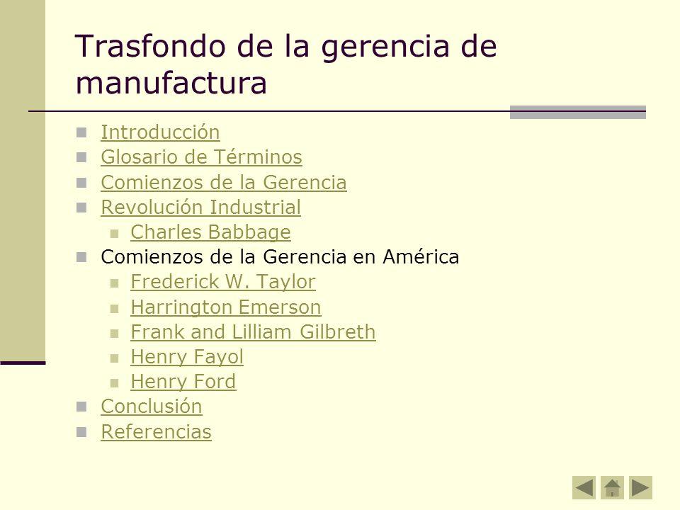 Trasfondo de la gerencia de manufactura Introducción Glosario de Términos Comienzos de la Gerencia Revolución Industrial Charles Babbage Comienzos de