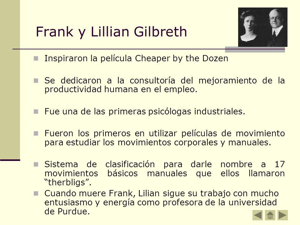 Frank y Lillian Gilbreth Inspiraron la película Cheaper by the Dozen Se dedicaron a la consultoría del mejoramiento de la productividad humana en el e