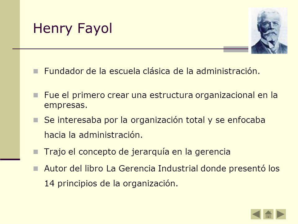 Henry Fayol Fundador de la escuela clásica de la administración. Fue el primero crear una estructura organizacional en la empresas. Se interesaba por