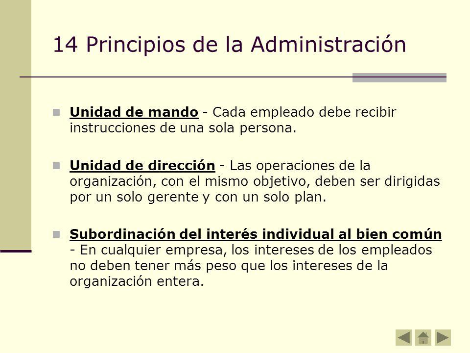 14 Principios de la Administración Unidad de mando - Cada empleado debe recibir instrucciones de una sola persona. Unidad de dirección - Las operacion