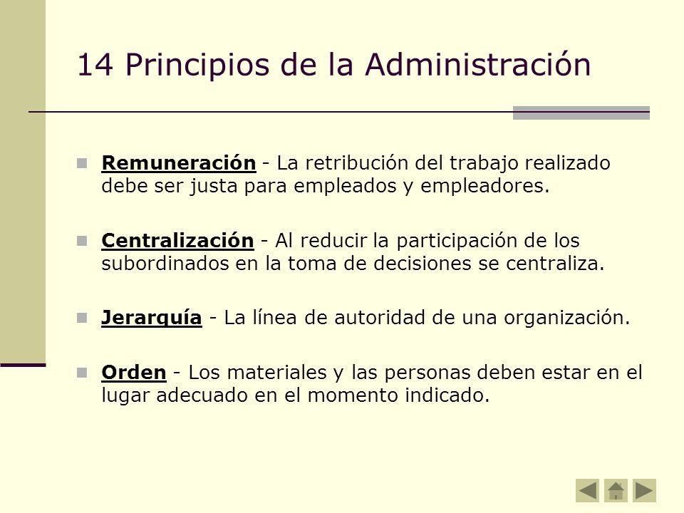 14 Principios de la Administración Remuneración - La retribución del trabajo realizado debe ser justa para empleados y empleadores. Centralización - A