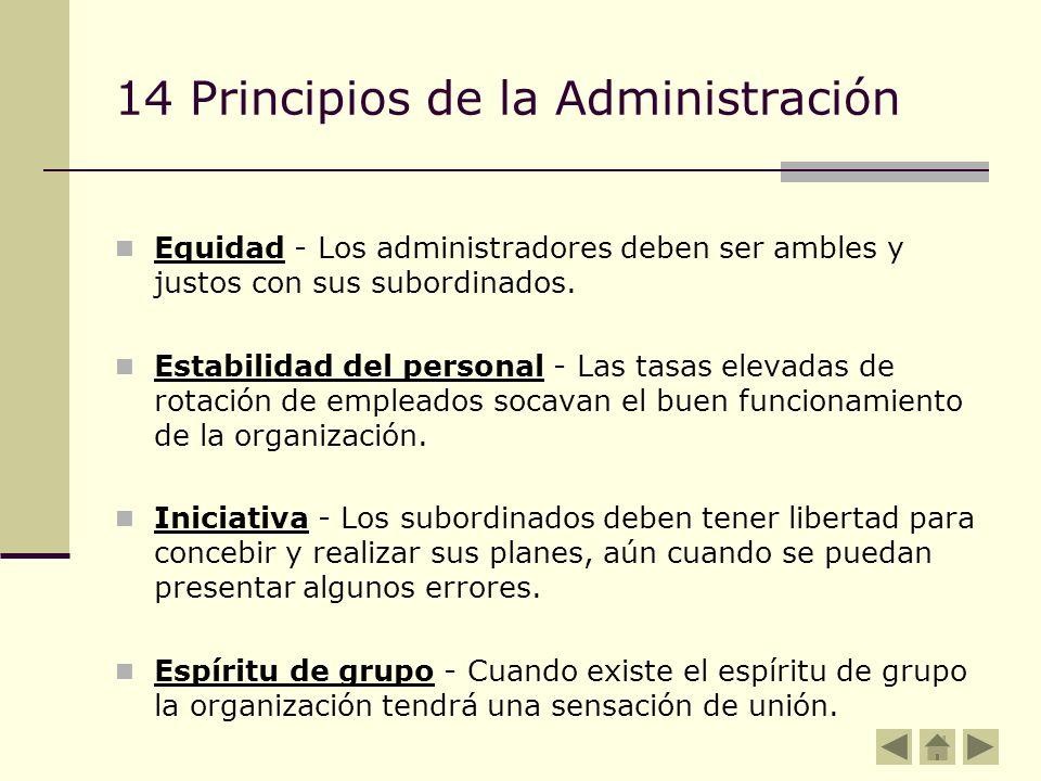 14 Principios de la Administración Equidad - Los administradores deben ser ambles y justos con sus subordinados. Estabilidad del personal - Las tasas