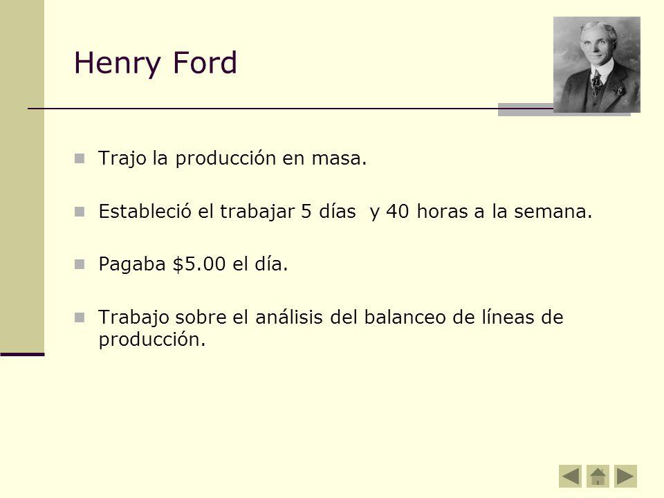 Henry Ford Trajo la producción en masa. Estableció el trabajar 5 días y 40 horas a la semana. Pagaba $5.00 el día. Trabajo sobre el análisis del balan