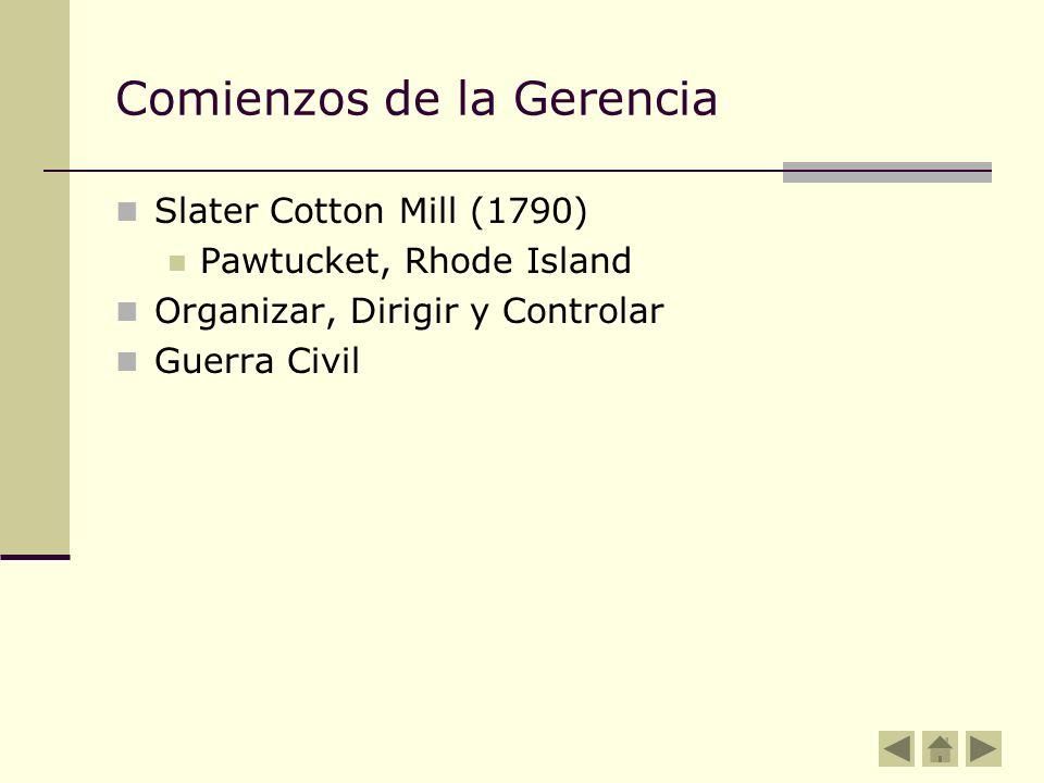 Comienzos de la Gerencia Slater Cotton Mill (1790) Pawtucket, Rhode Island Organizar, Dirigir y Controlar Guerra Civil
