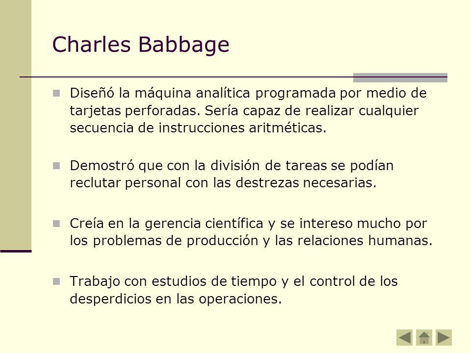 Charles Babbage Diseñó la máquina analítica programada por medio de tarjetas perforadas. Sería capaz de realizar cualquier secuencia de instrucciones
