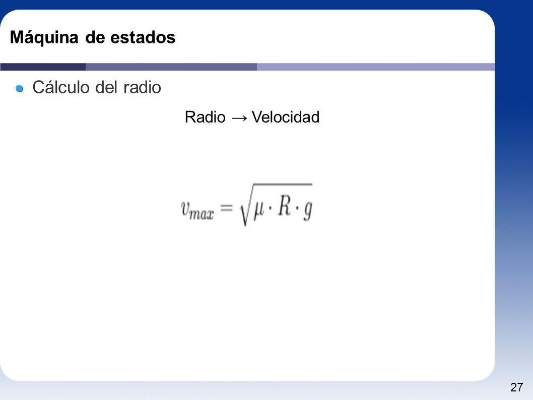 27 Máquina de estados Cálculo del radio Radio Velocidad