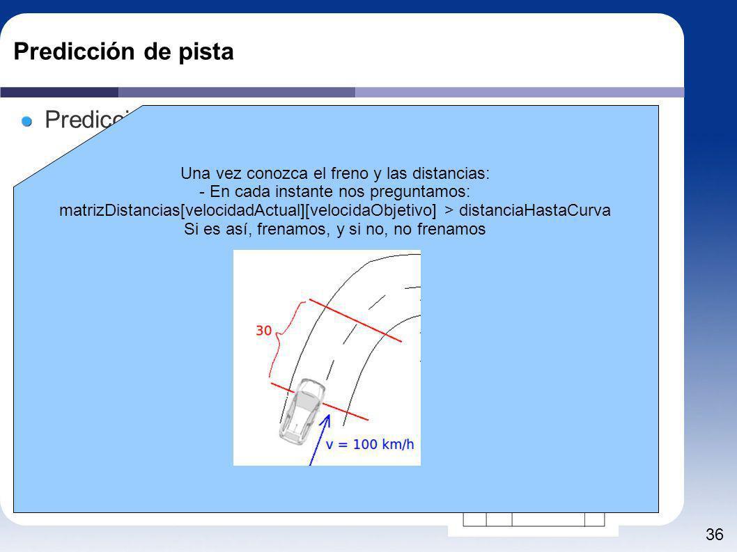 36 Predicción de pista Predicción - Velocidad Una vez conozca la próxima curva deberá: - Qué freno usar - Cómo se comporta el freno (distancias) Tarea