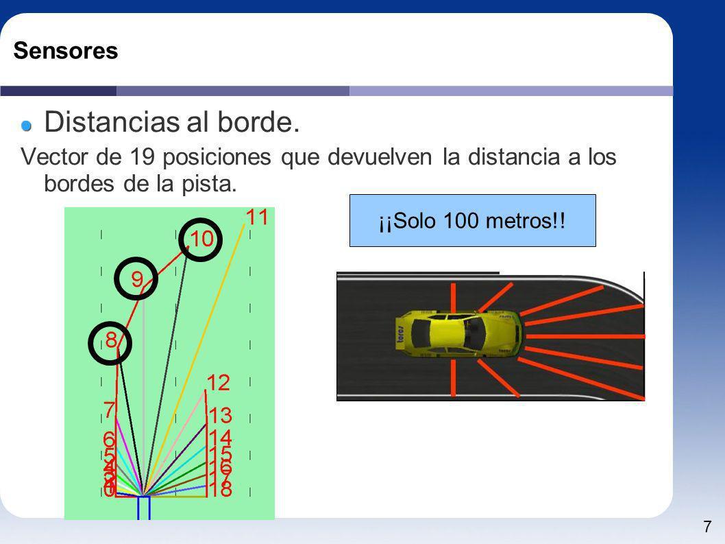 7 Sensores Distancias al borde. Vector de 19 posiciones que devuelven la distancia a los bordes de la pista. ¡¡Solo 100 metros!!