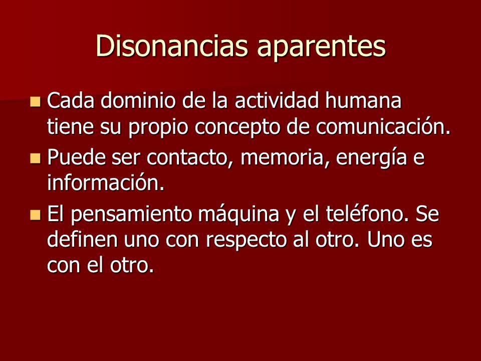 Disonancias aparentes Cada dominio de la actividad humana tiene su propio concepto de comunicación.