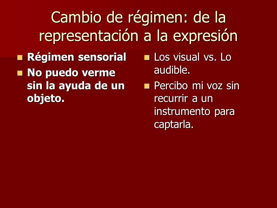 Cambio de régimen: de la representación a la expresión Régimen sensorial Régimen sensorial No puedo verme sin la ayuda de un objeto.