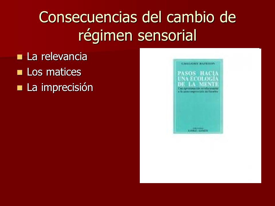 Consecuencias del cambio de régimen sensorial La relevancia La relevancia Los matices Los matices La imprecisión La imprecisión
