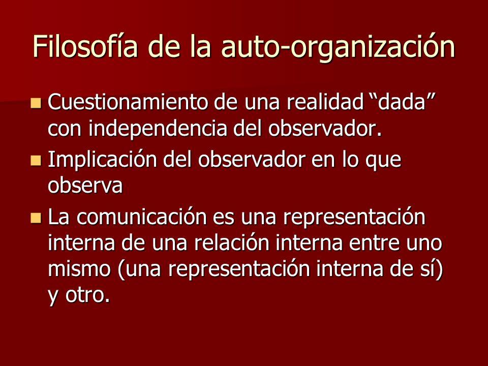 Filosofía de la auto-organización Cuestionamiento de una realidad dada con independencia del observador.