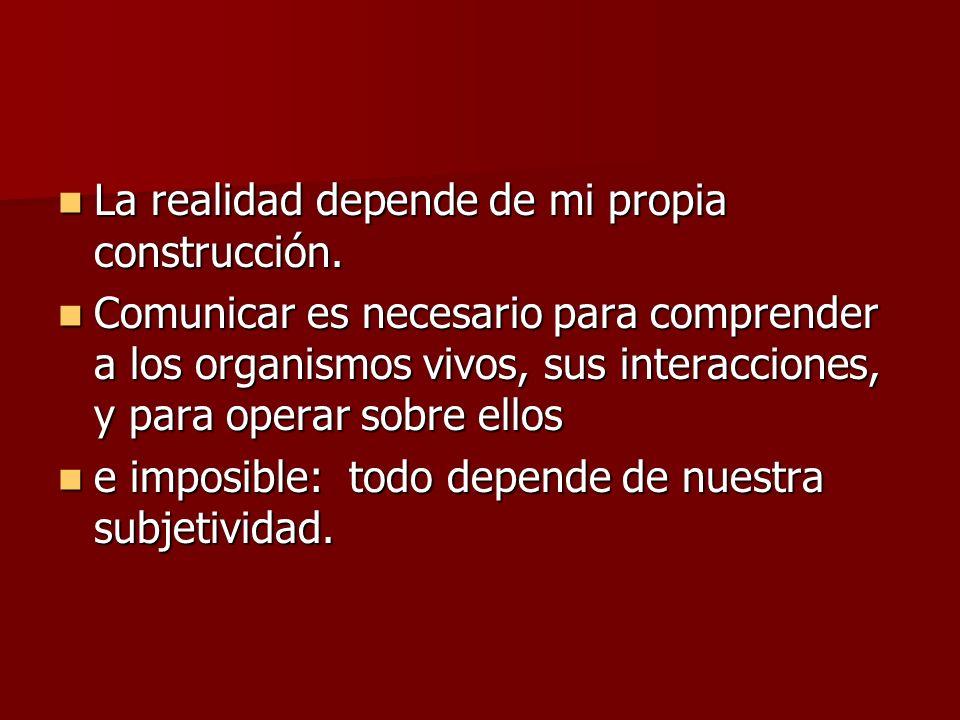 La realidad depende de mi propia construcción.La realidad depende de mi propia construcción.