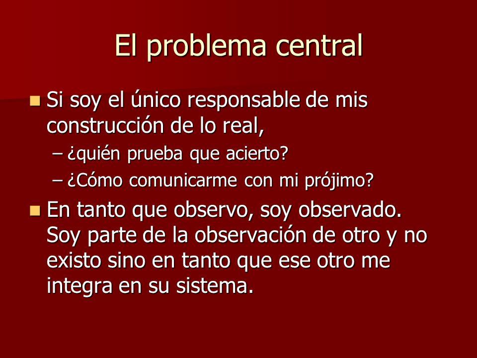El problema central Si soy el único responsable de mis construcción de lo real, Si soy el único responsable de mis construcción de lo real, –¿quién prueba que acierto.