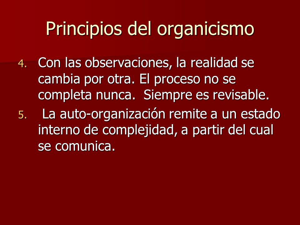 Principios del organicismo 4.Con las observaciones, la realidad se cambia por otra.