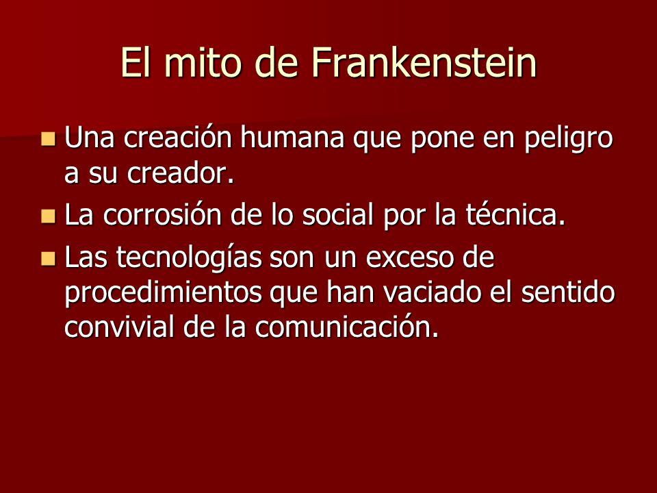 El mito de Frankenstein Una creación humana que pone en peligro a su creador.