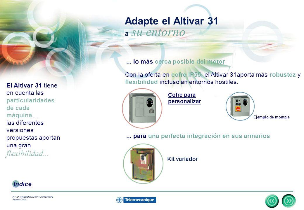 10 Indice ATV31 PRESENTACIÓN COMERCIAL Febrero 2004 Adapte el Altivar 31 a su entorno El Altivar 31 tiene en cuenta las particularidades de cada máquina...