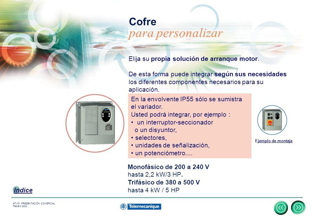 11 Indice ATV31 PRESENTACIÓN COMERCIAL Febrero 2004 Elija su propia solución de arranque motor.