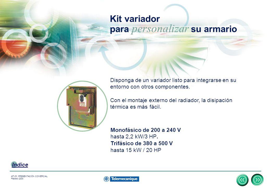 12 Indice ATV31 PRESENTACIÓN COMERCIAL Febrero 2004 Kit variador para personalizar su armario Monofásico de 200 a 240 V hasta 2,2 kW/3 HP.