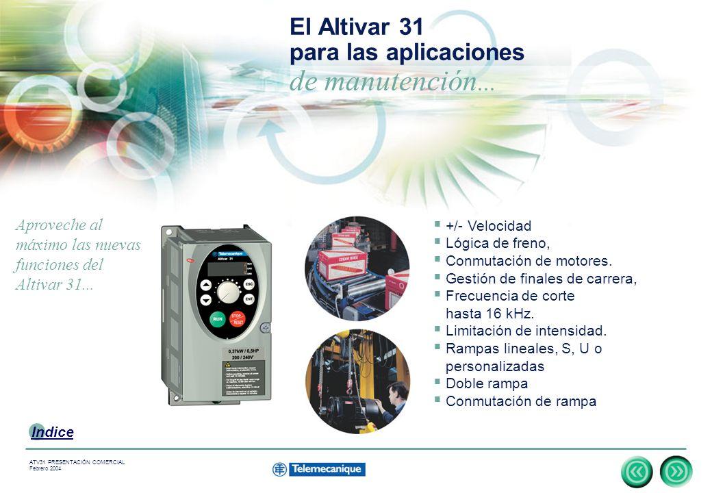 13 Indice ATV31 PRESENTACIÓN COMERCIAL Febrero 2004 El Altivar 31 para las aplicaciones de manutención...