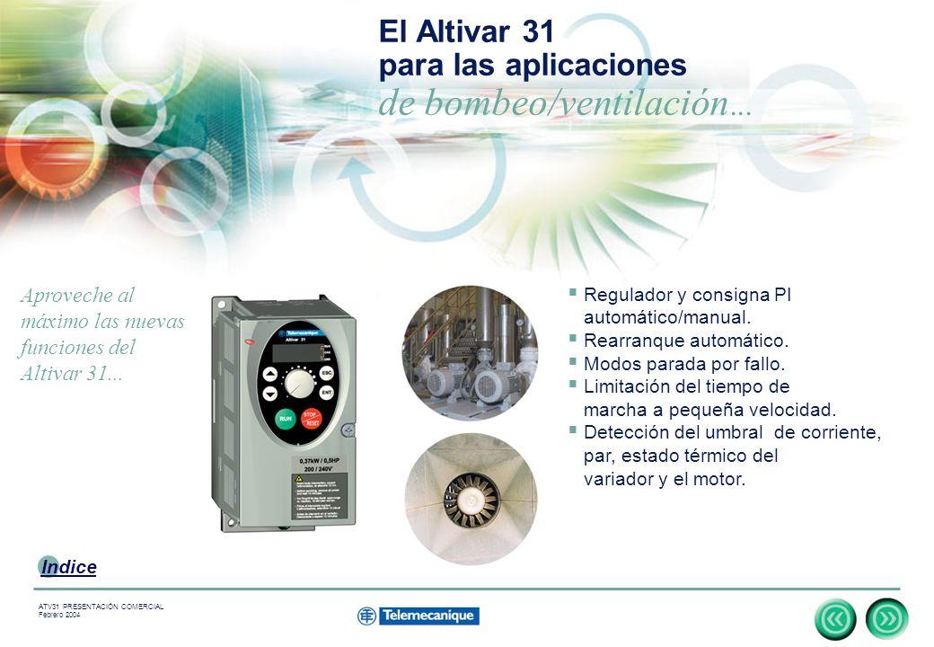 14 Indice ATV31 PRESENTACIÓN COMERCIAL Febrero 2004 El Altivar 31 para las aplicaciones de bombeo/ventilación...