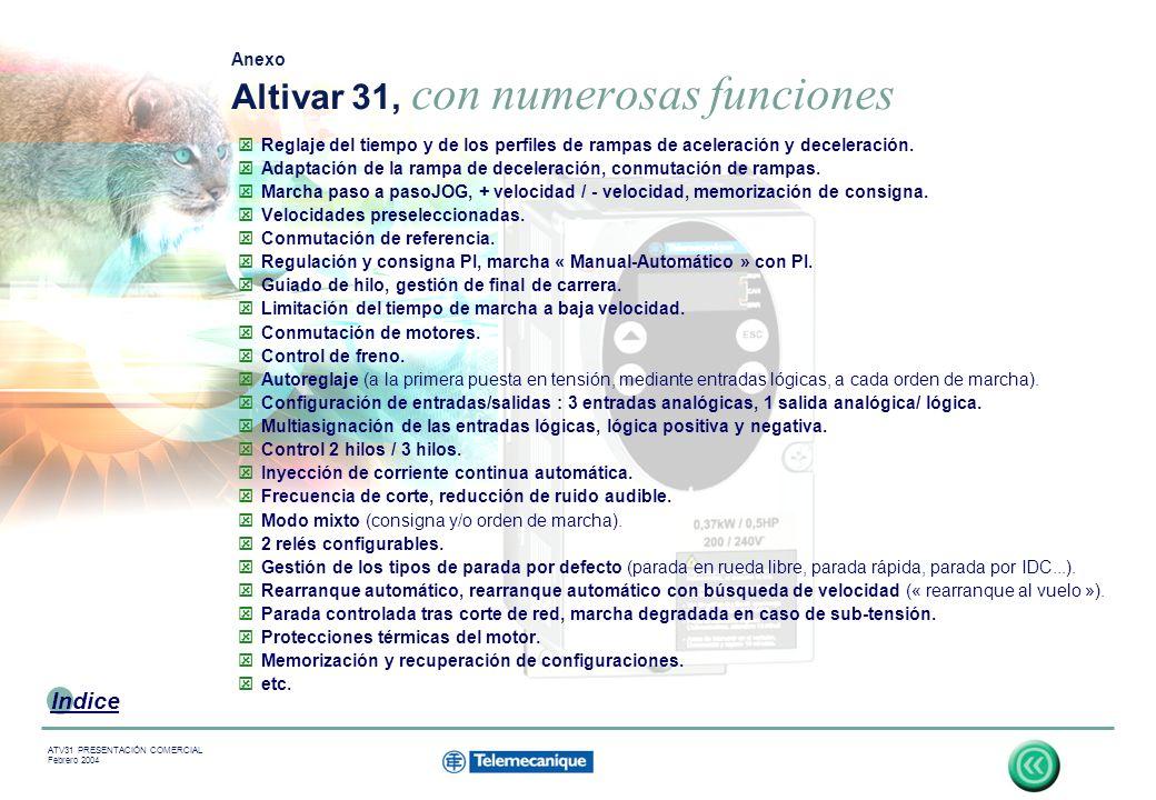 18 Indice ATV31 PRESENTACIÓN COMERCIAL Febrero 2004 Reglaje del tiempo y de los perfiles de rampas de aceleración y deceleración.