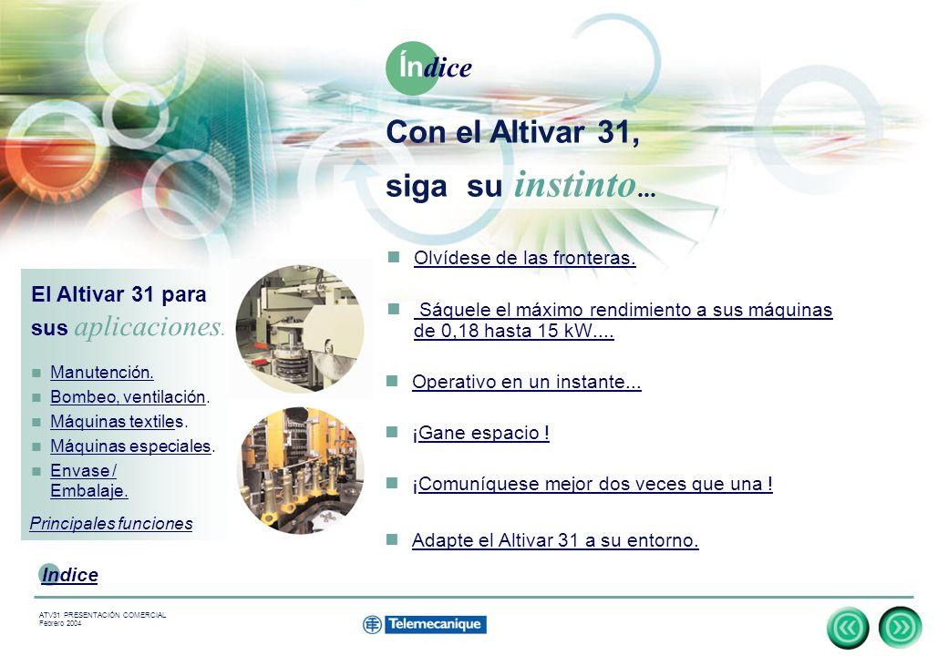 3 Indice ATV31 PRESENTACIÓN COMERCIAL Febrero 2004 Olvídese de las fronteras.