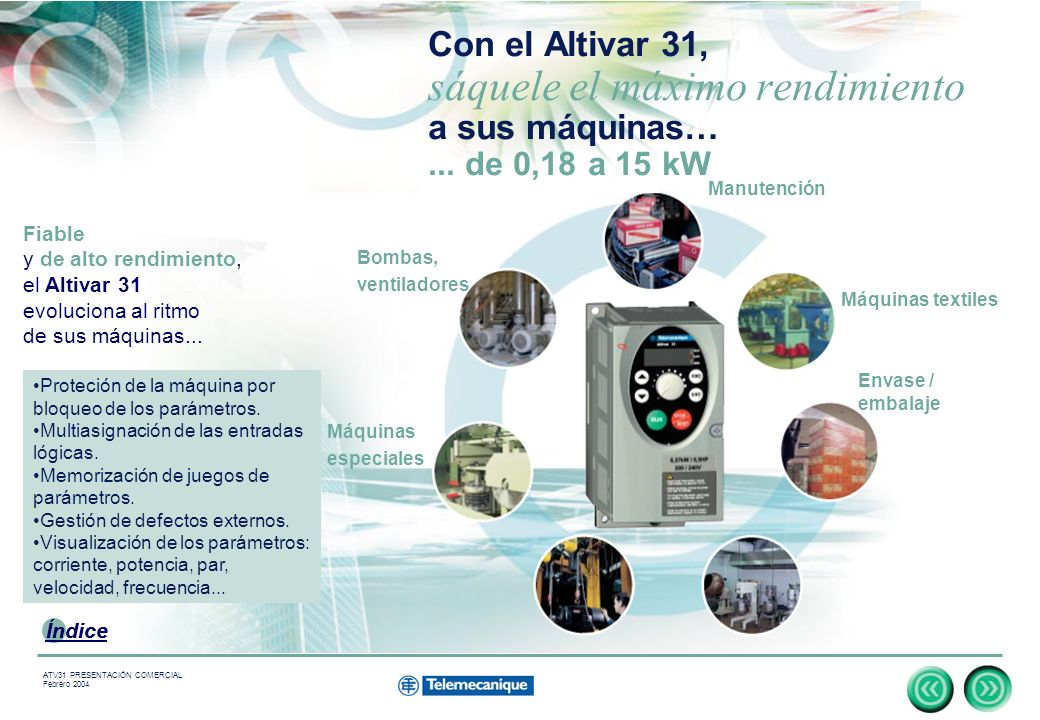 5 Indice ATV31 PRESENTACIÓN COMERCIAL Febrero 2004 Con el Altivar 31, sáquele el máximo rendimiento a sus máquinas…...