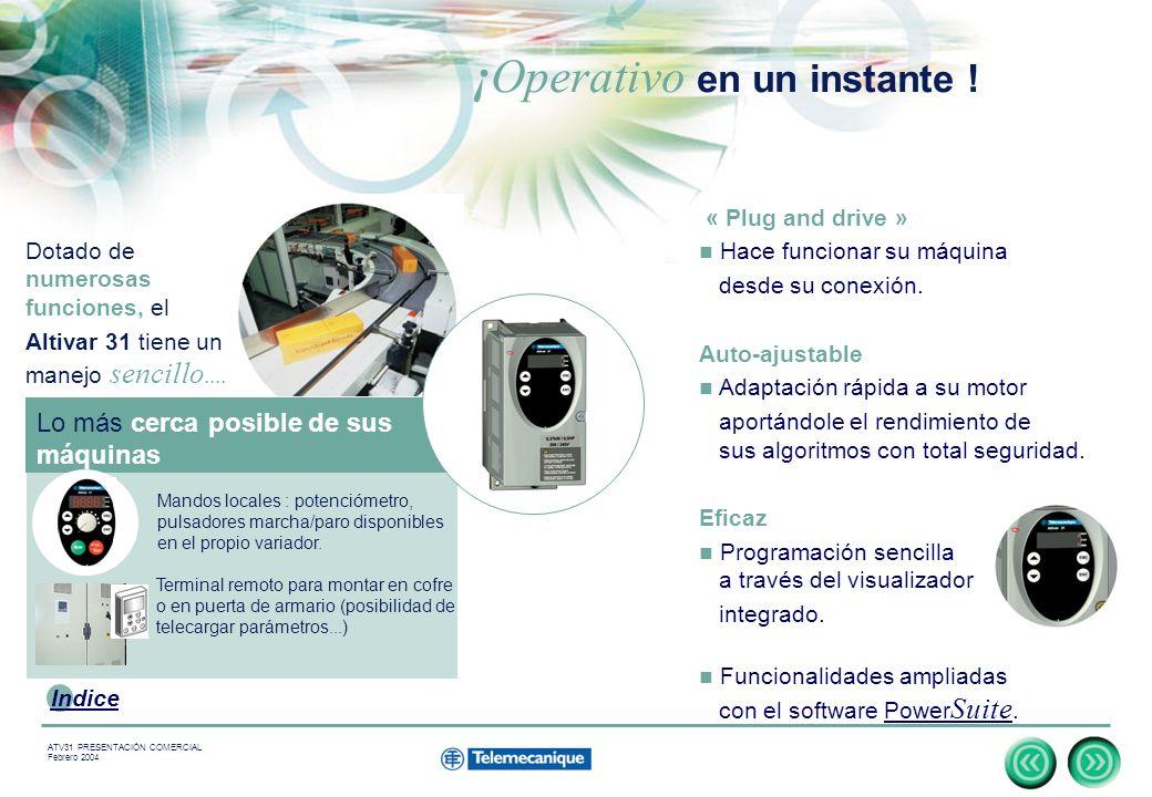 6 Indice ATV31 PRESENTACIÓN COMERCIAL Febrero 2004 « Plug and drive » Hace funcionar su máquina desde su conexión.