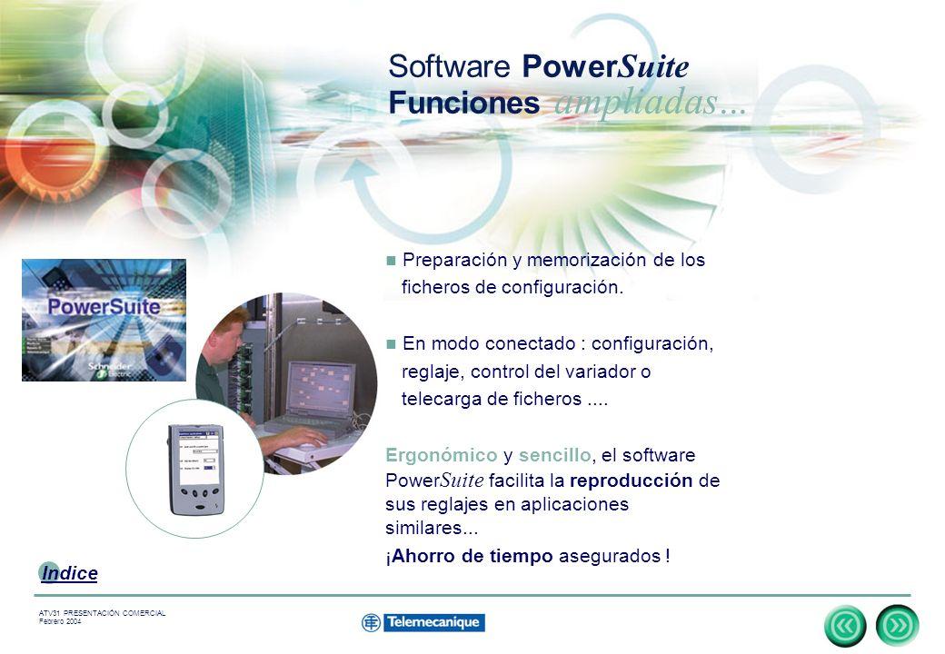 7 Indice ATV31 PRESENTACIÓN COMERCIAL Febrero 2004 Preparación y memorización de los ficheros de configuración.