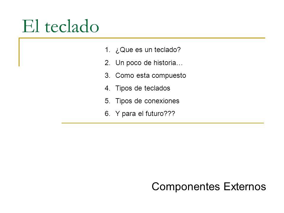 El teclado Componentes Externos 1.¿Que es un teclado? 2.Un poco de historia… 3.Como esta compuesto 4.Tipos de teclados 5.Tipos de conexiones 6.Y para