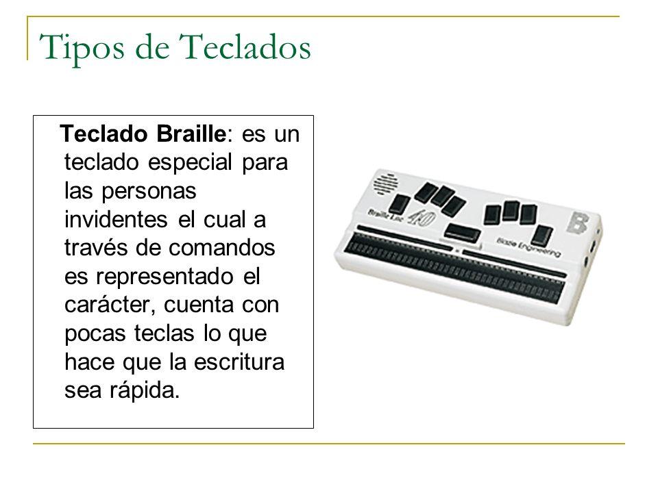 Tipos de Teclados Teclado Braille: es un teclado especial para las personas invidentes el cual a través de comandos es representado el carácter, cuent