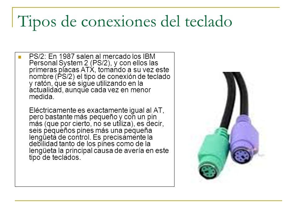 Tipos de conexiones del teclado PS/2: En 1987 salen al mercado los IBM Personal System 2 (PS/2), y con ellos las primeras placas ATX, tomando a su vez