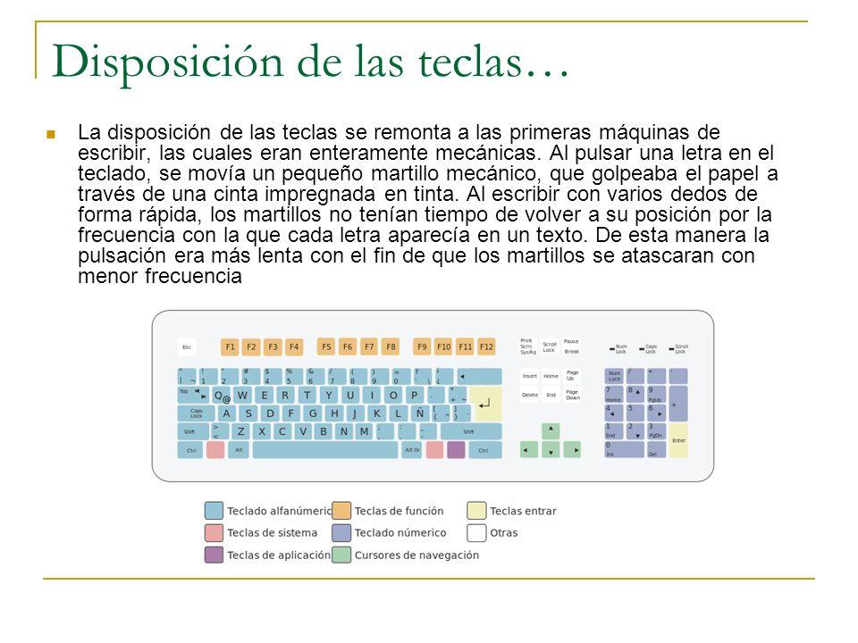 Disposición de las teclas… La disposición de las teclas se remonta a las primeras máquinas de escribir, las cuales eran enteramente mecánicas. Al puls