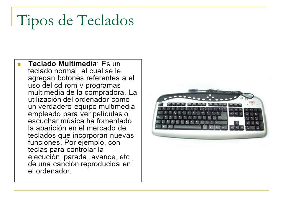 Tipos de Teclados Teclado Multimedia: Es un teclado normal, al cual se le agregan botones referentes a el uso del cd-rom y programas multimedia de la