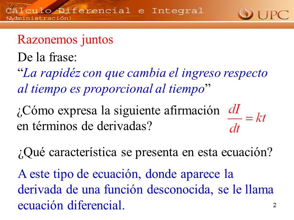 3 Es aquella ecuación que implica una derivada o un diferencial, por ejemplo: Ecuación Diferencial