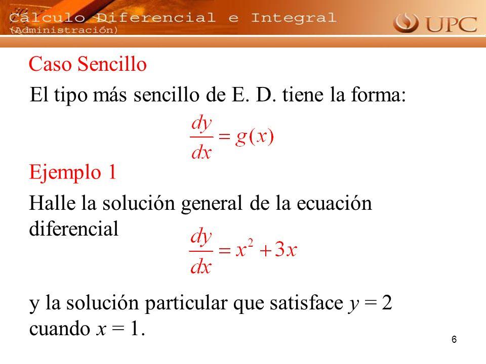 7 Una ecuación diferencial se dice que es de variable separable si puede escribirse de la forma: La solución general se obtiene integrando en ambos miembros de esta ecuación, es decir, E.