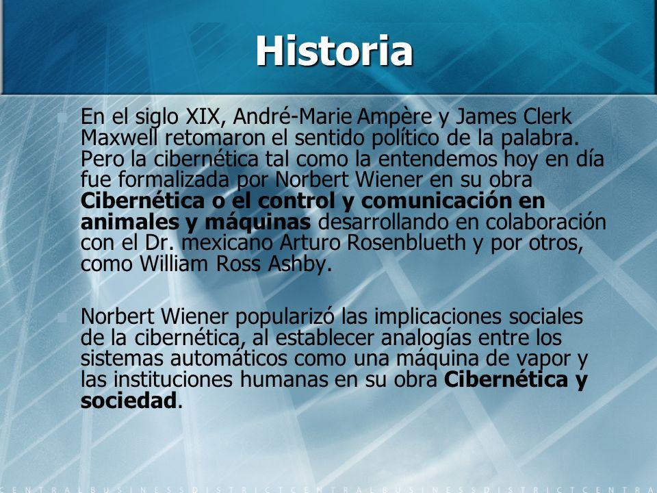 Historia En el siglo XIX, André-Marie Ampère y James Clerk Maxwell retomaron el sentido político de la palabra. Pero la cibernética tal como la entend
