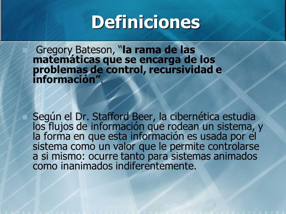 Definiciones Gregory Bateson, la rama de las matemáticas que se encarga de los problemas de control, recursividad e información. Según el Dr. Stafford