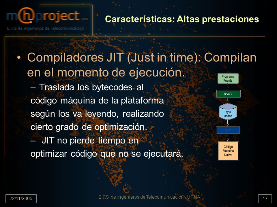 22/11/2005 E.T.S de Ingenieros de Telecomunicación - UPNA.17 Características: Altas prestaciones Compiladores JIT (Just in time): Compilan en el momen