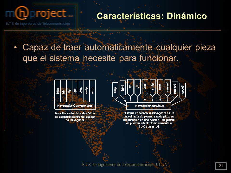 E.T.S de Ingenieros de Telecomunicación - UPNA.21 Características: Dinámico Capaz de traer automáticamente cualquier pieza que el sistema necesite par