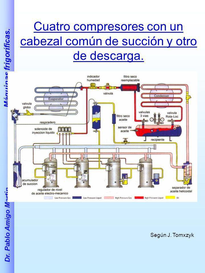 Dr. Pablo Amigo Martín. Máquinas frigoríficas. Cuatro compresores con un cabezal común de succión y otro de descarga. Según J. Tomxzyk