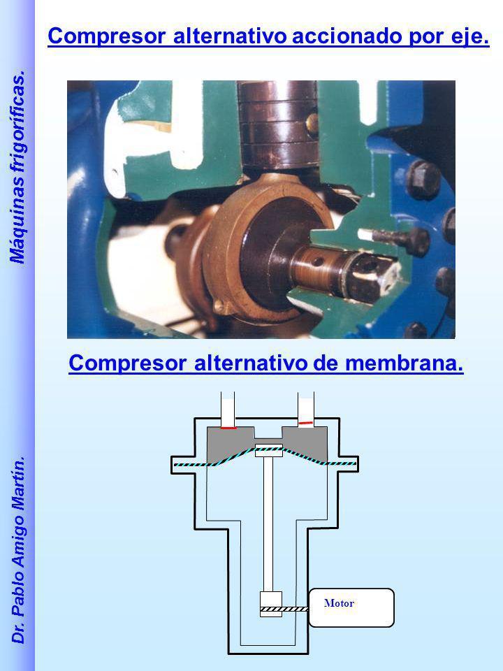 Dr. Pablo Amigo Martín. Máquinas frigoríficas. Compresor alternativo accionado por eje. Motor Compresor alternativo de membrana.