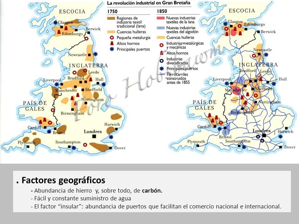 Factores geográficos - Abundancia de hierro y, sobre todo, de carbón.