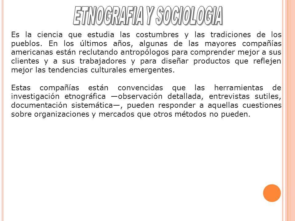 Es la ciencia que estudia las costumbres y las tradiciones de los pueblos.