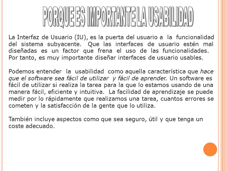 La Interfaz de Usuario (IU), es la puerta del usuario a la funcionalidad del sistema subyacente. Que las interfaces de usuario estén mal diseñadas es