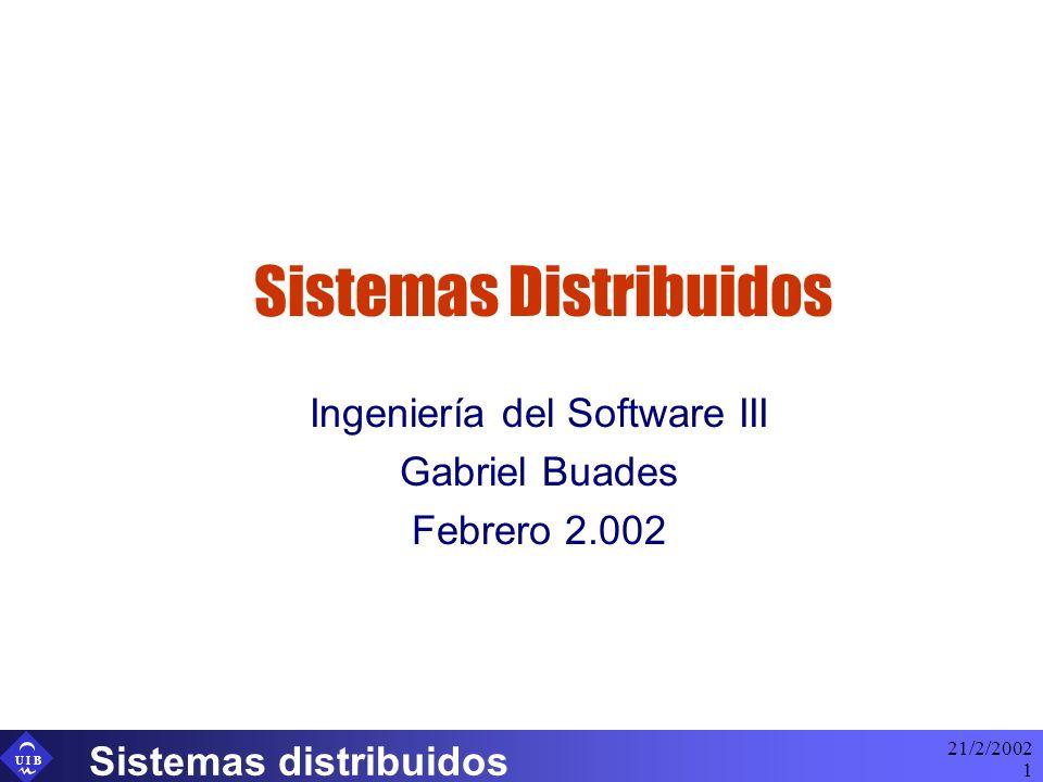U I B 21/2/2002 Sistemas distribuidos 2 Índice Definición y concepto Clasificación de sistemas distribuidos Aspectos referentes al proceso de ingeniería Caso particular: aplicaciones Web Aspectos relativos al coste
