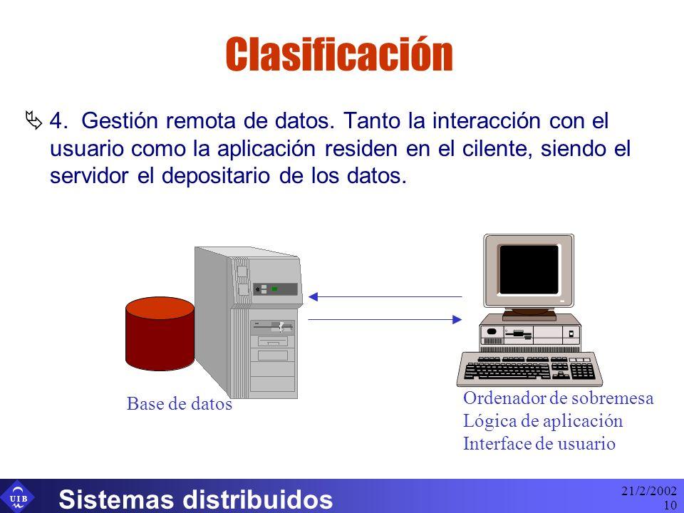 U I B 21/2/2002 Sistemas distribuidos 10 Clasificación 4. Gestión remota de datos. Tanto la interacción con el usuario como la aplicación residen en e