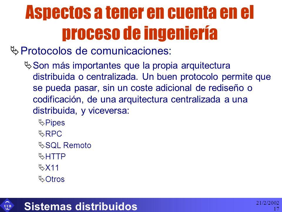 U I B 21/2/2002 Sistemas distribuidos 17 Aspectos a tener en cuenta en el proceso de ingeniería Protocolos de comunicaciones: Son más importantes que