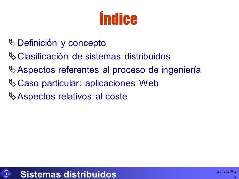 U I B 21/2/2002 Sistemas distribuidos 2 Índice Definición y concepto Clasificación de sistemas distribuidos Aspectos referentes al proceso de ingenier